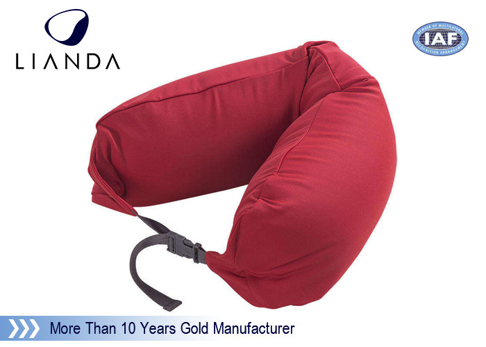 Promotional Gift Red Memory Foam Pillows For Car / Train , Microbeads Material